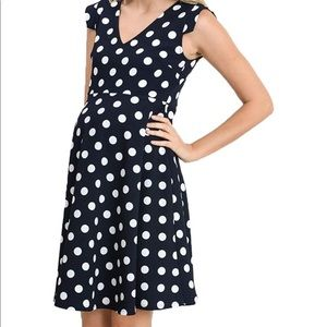 Navy Polka Dot Maternity Dress